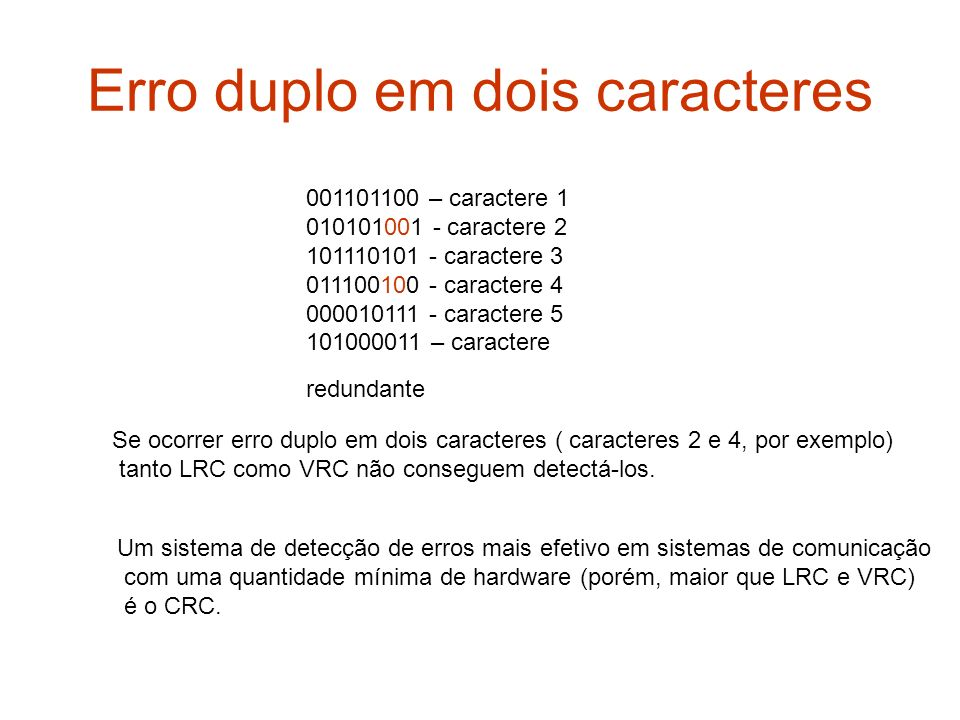Erro duplo em dois caracteres 001101100 – caractere 1 010101001 - caractere 2 101110101 - caractere 3 011100100 - caractere 4 000010111 - caractere 5