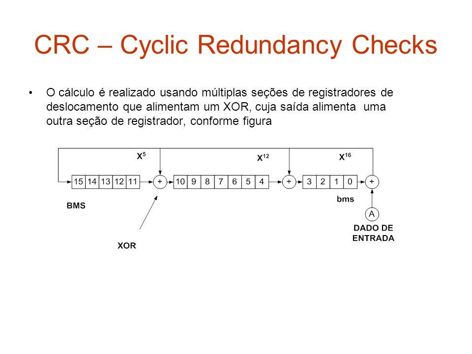 CRC – Cyclic Redundancy Checks O cálculo é realizado usando múltiplas seções de registradores de deslocamento que alimentam um XOR, cuja saída aliment