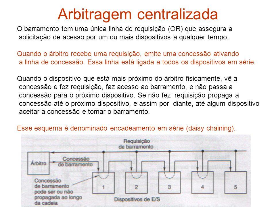 Arbitragem centralizada O barramento tem uma única linha de requisição (OR) que assegura a solicitação de acesso por um ou mais dispositivos a qualque