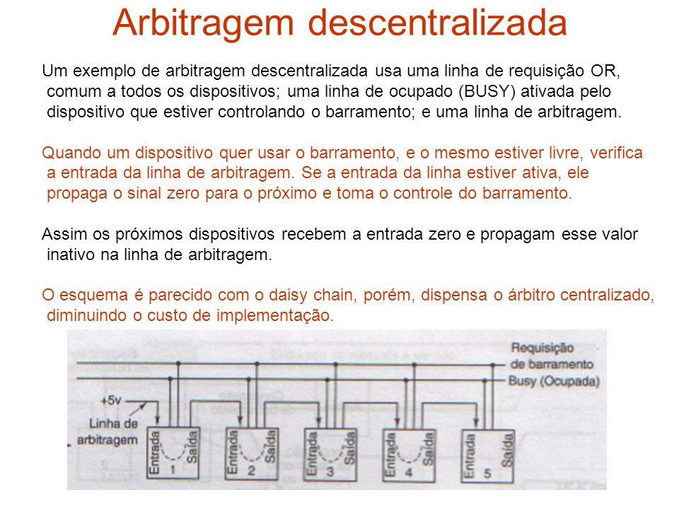 Arbitragem descentralizada Um exemplo de arbitragem descentralizada usa uma linha de requisição OR, comum a todos os dispositivos; uma linha de ocupad