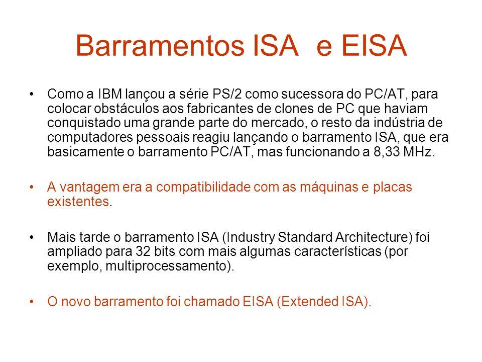 Barramentos ISA e EISA Como a IBM lançou a série PS/2 como sucessora do PC/AT, para colocar obstáculos aos fabricantes de clones de PC que haviam conq