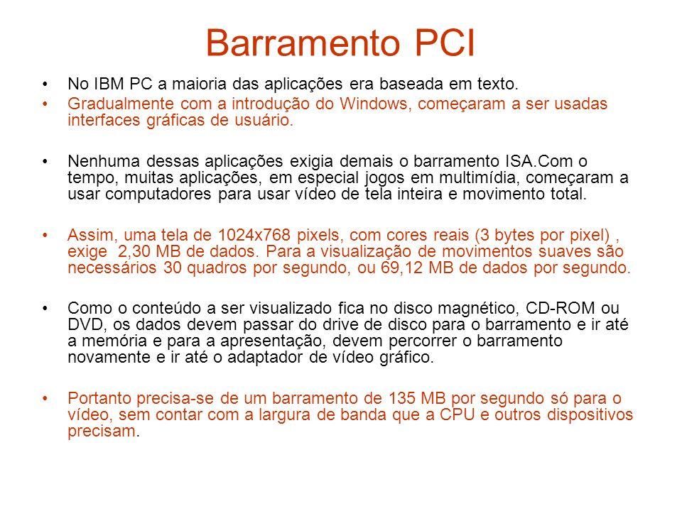 Barramento PCI No IBM PC a maioria das aplicações era baseada em texto. Gradualmente com a introdução do Windows, começaram a ser usadas interfaces gr