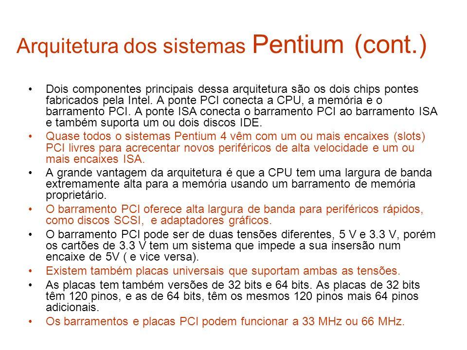 Arquitetura dos sistemas Pentium (cont.) Dois componentes principais dessa arquitetura são os dois chips pontes fabricados pela Intel. A ponte PCI con