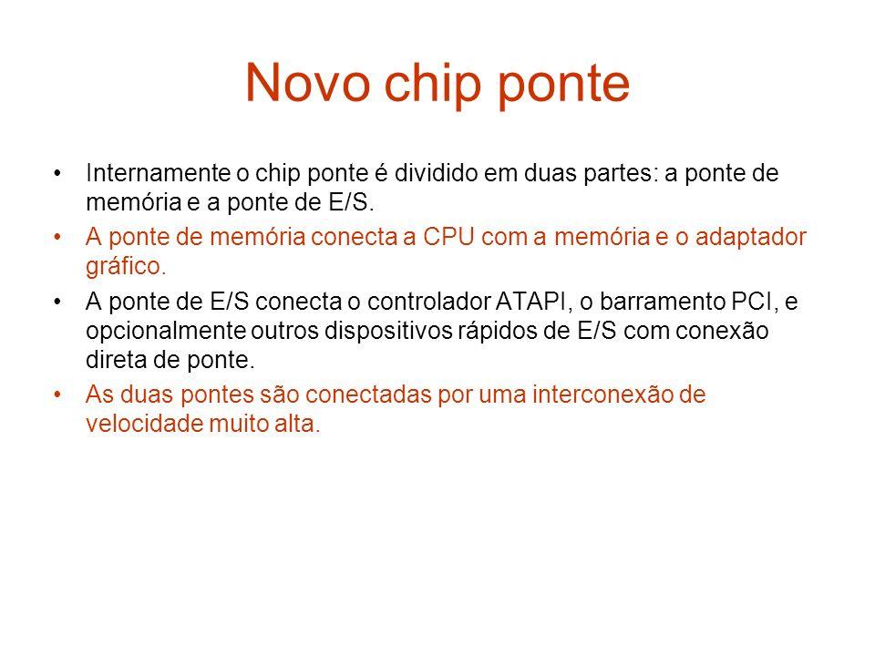 Novo chip ponte Internamente o chip ponte é dividido em duas partes: a ponte de memória e a ponte de E/S. A ponte de memória conecta a CPU com a memór