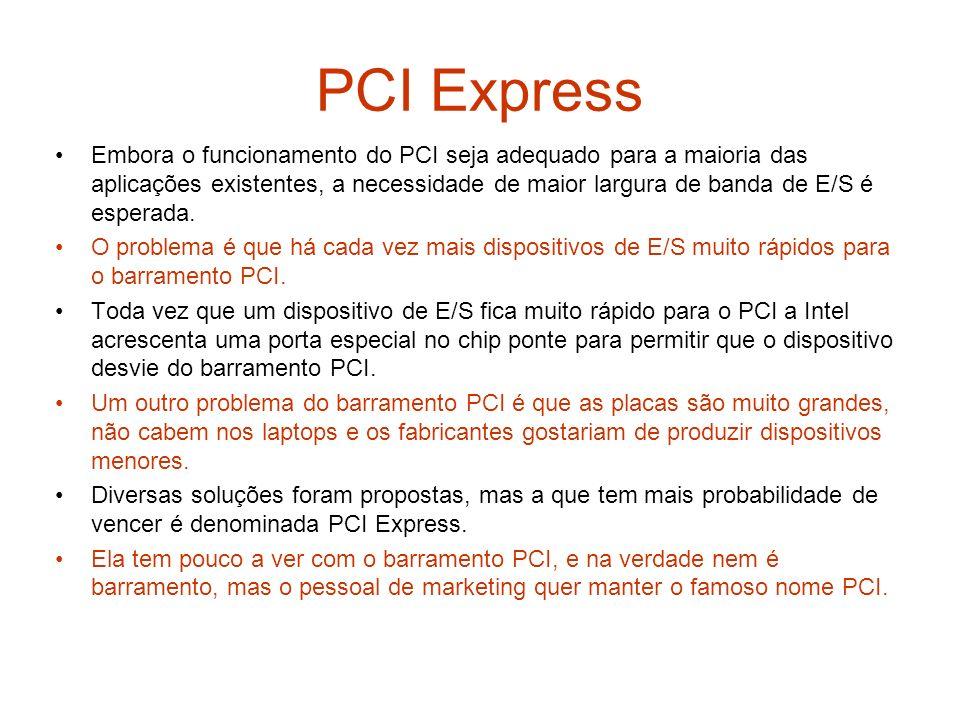 PCI Express Embora o funcionamento do PCI seja adequado para a maioria das aplicações existentes, a necessidade de maior largura de banda de E/S é esp