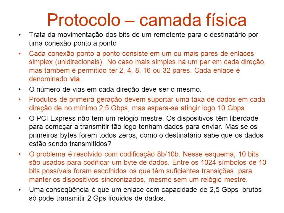 Protocolo – camada física Trata da movimentação dos bits de um remetente para o destinatário por uma conexão ponto a ponto Cada conexão ponto a ponto