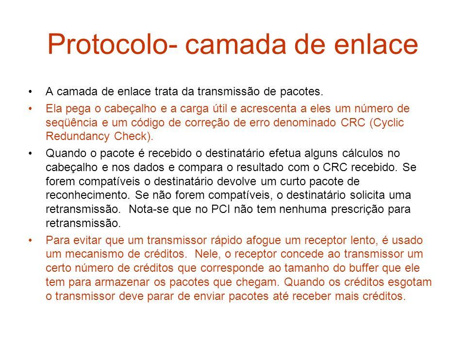 Protocolo- camada de enlace A camada de enlace trata da transmissão de pacotes. Ela pega o cabeçalho e a carga útil e acrescenta a eles um número de s