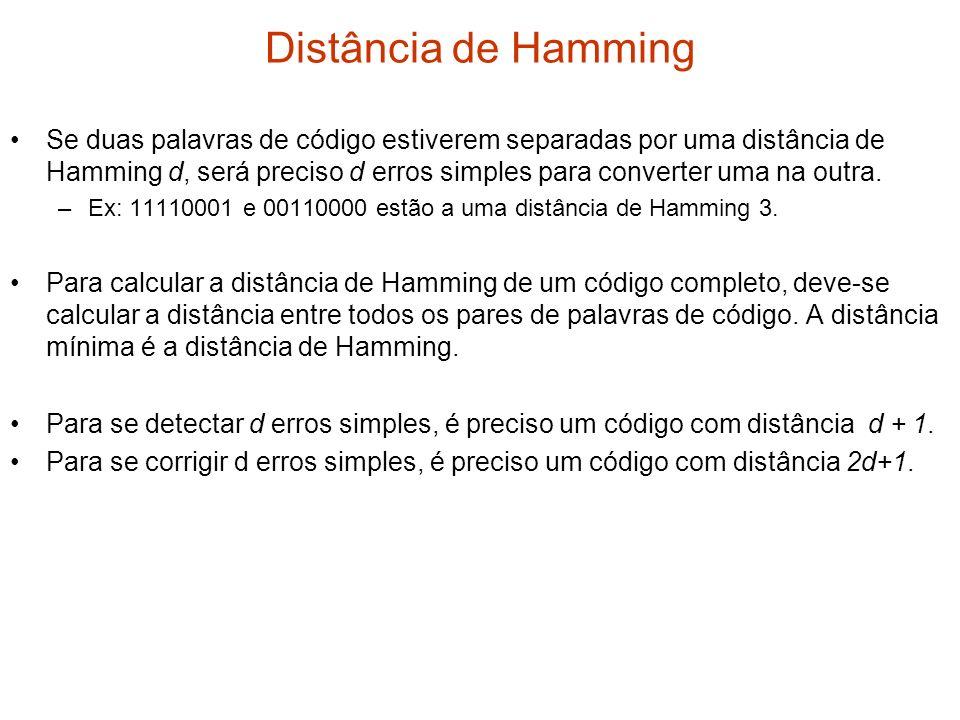 Distância de Hamming Se duas palavras de código estiverem separadas por uma distância de Hamming d, será preciso d erros simples para converter uma na