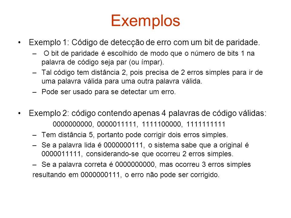 Exemplos Exemplo 1: Código de detecção de erro com um bit de paridade. – O bit de paridade é escolhido de modo que o número de bits 1 na palavra de có