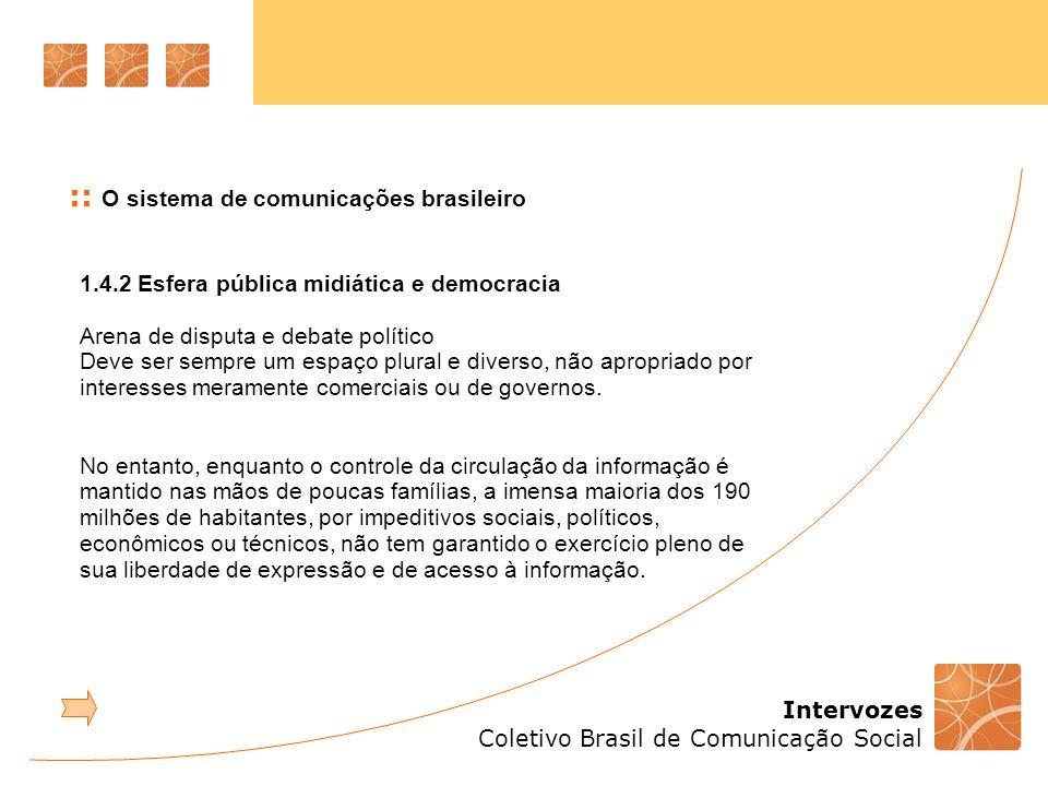 Intervozes Coletivo Brasil de Comunicação Social 1.4.2 Esfera pública midiática e democracia Arena de disputa e debate político Deve ser sempre um espaço plural e diverso, não apropriado por interesses meramente comerciais ou de governos.