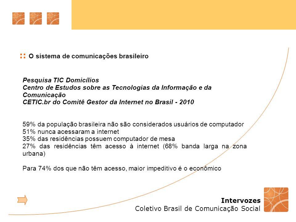Intervozes Coletivo Brasil de Comunicação Social Pesquisa TIC Domicílios Centro de Estudos sobre as Tecnologias da Informação e da Comunicação CETIC.br do Comitê Gestor da Internet no Brasil - 2010 59% da população brasileira não são considerados usuários de computador 51% nunca acessaram a internet 35% das residências possuem computador de mesa 27% das residências têm acesso à internet (68% banda larga na zona urbana) Para 74% dos que não têm acesso, maior impeditivo é o econômico :: O sistema de comunicações brasileiro