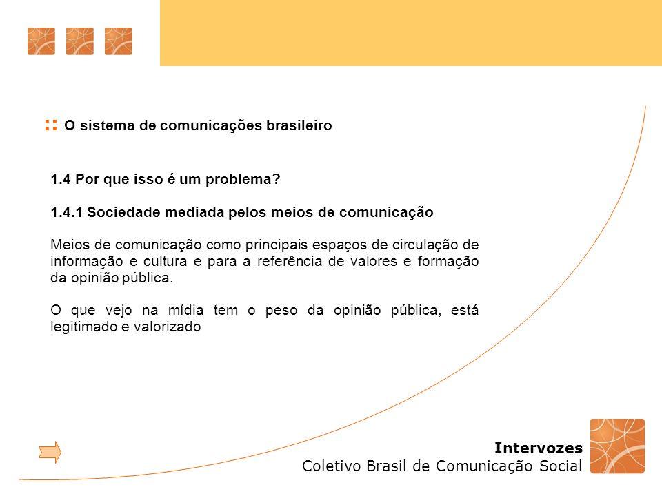 Intervozes Coletivo Brasil de Comunicação Social 1.4 Por que isso é um problema? 1.4.1 Sociedade mediada pelos meios de comunicação Meios de comunicaç