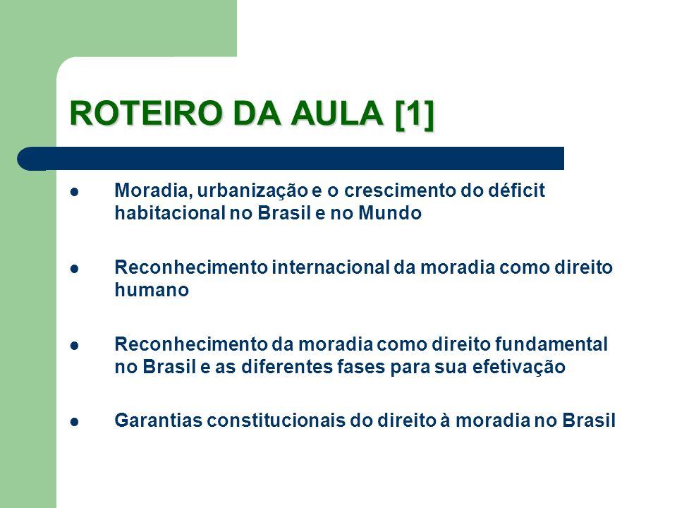 ROTEIRO DA AULA [1] Moradia, urbanização e o crescimento do déficit habitacional no Brasil e no Mundo Reconhecimento internacional da moradia como dir
