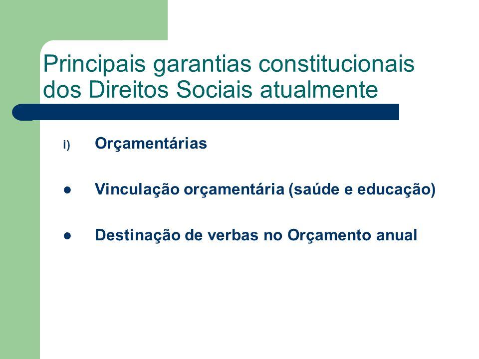 Principais garantias constitucionais dos Direitos Sociais atualmente i) Orçamentárias Vinculação orçamentária (saúde e educação) Destinação de verbas