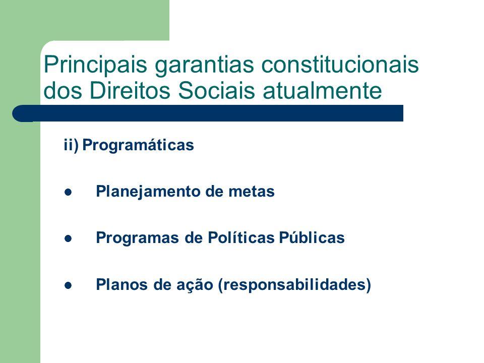 Principais garantias constitucionais dos Direitos Sociais atualmente ii) Programáticas Planejamento de metas Programas de Políticas Públicas Planos de