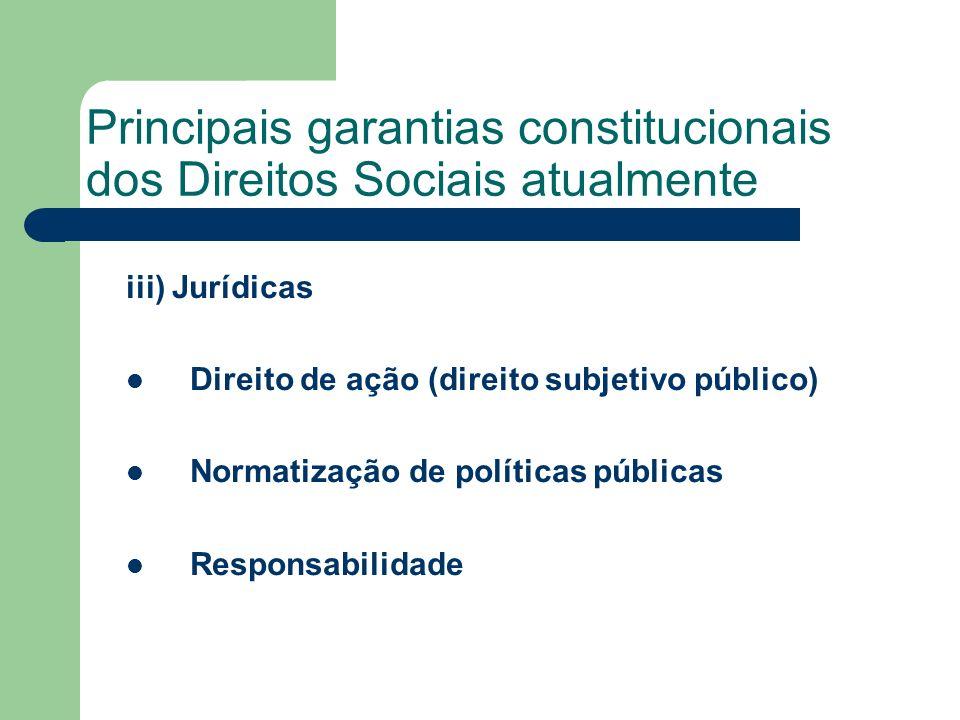 Principais garantias constitucionais dos Direitos Sociais atualmente iii) Jurídicas Direito de ação (direito subjetivo público) Normatização de políti