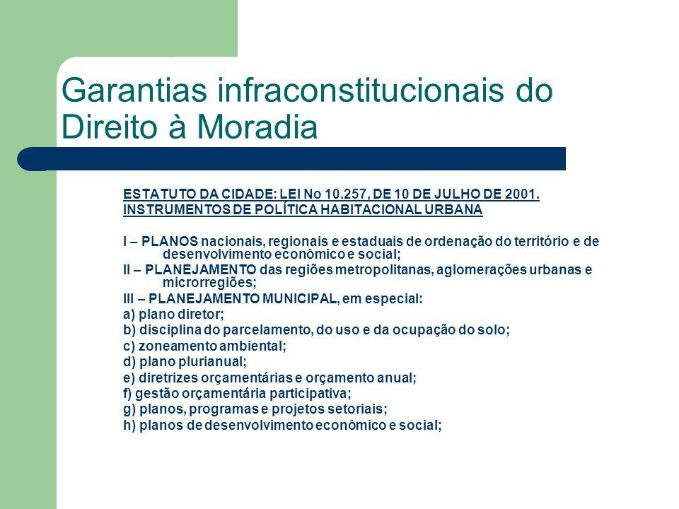 Garantias infraconstitucionais do Direito à Moradia ESTATUTO DA CIDADE: LEI No 10.257, DE 10 DE JULHO DE 2001.LEI No 10.257, DE 10 DE JULHO DE 2001. I