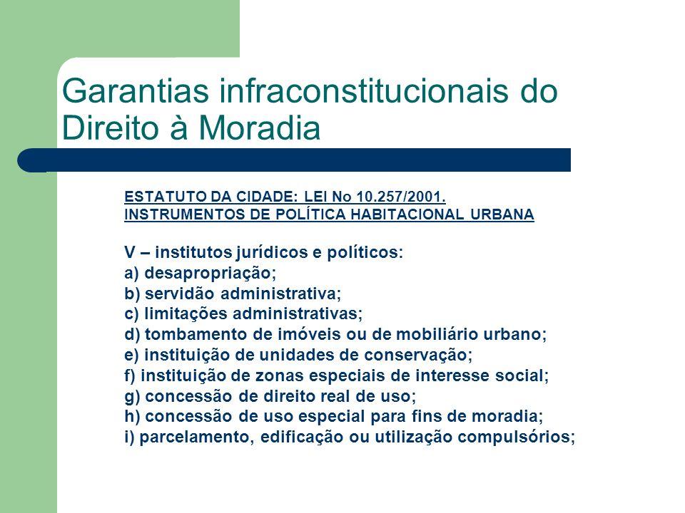 Garantias infraconstitucionais do Direito à Moradia ESTATUTO DA CIDADE: LEI No 10.257/2001.LEI No 10.257/2001. INSTRUMENTOS DE POLÍTICA HABITACIONAL U