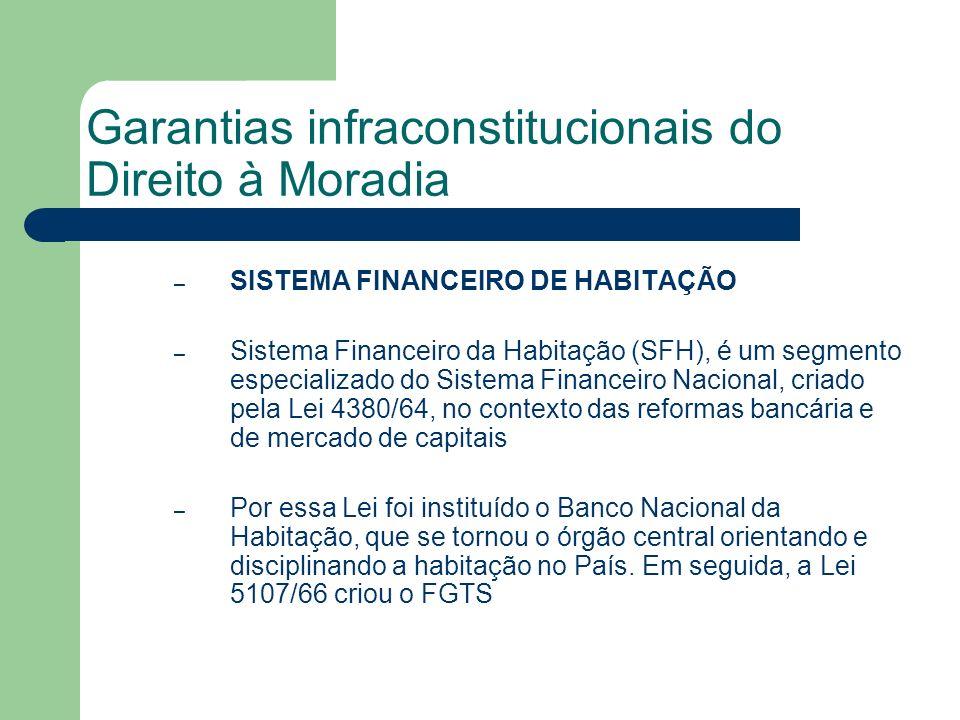 Garantias infraconstitucionais do Direito à Moradia – SISTEMA FINANCEIRO DE HABITAÇÃO – Sistema Financeiro da Habitação (SFH), é um segmento especiali