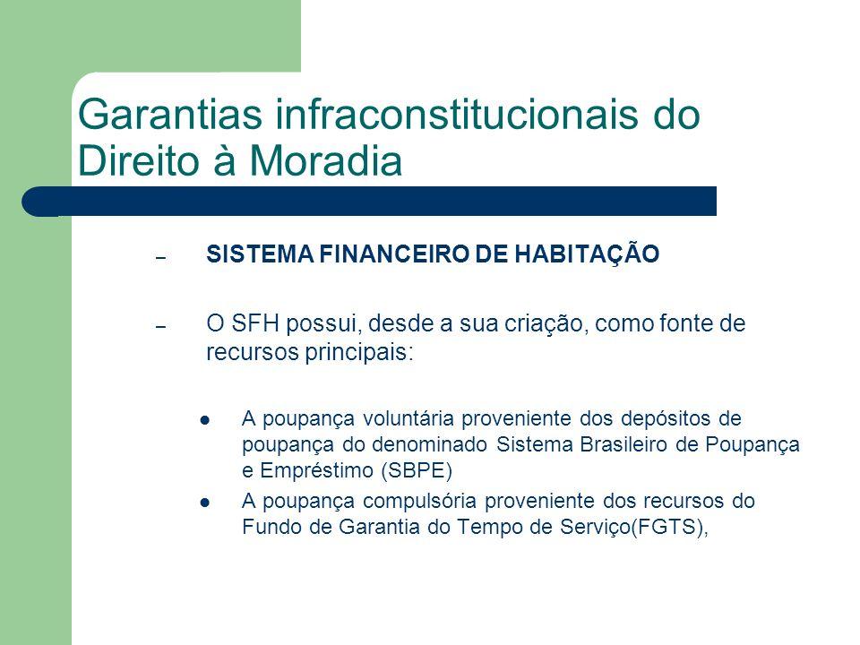 Garantias infraconstitucionais do Direito à Moradia – SISTEMA FINANCEIRO DE HABITAÇÃO – O SFH possui, desde a sua criação, como fonte de recursos prin