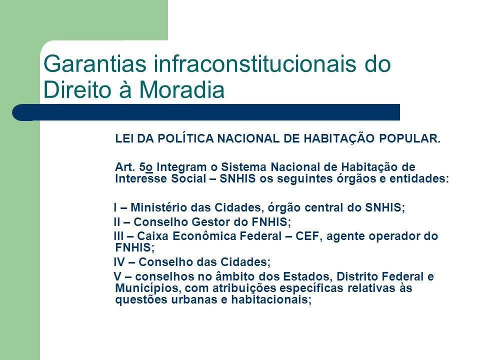 Garantias infraconstitucionais do Direito à Moradia LEI DA POLÍTICA NACIONAL DE HABITAÇÃO POPULAR. Art. 5o Integram o Sistema Nacional de Habitação de
