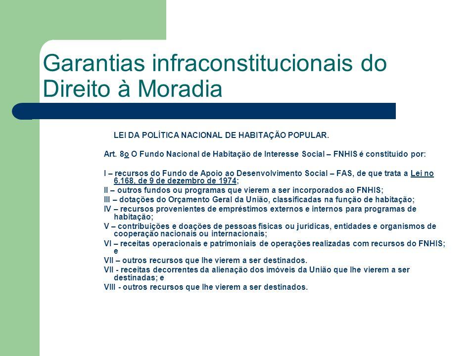 Garantias infraconstitucionais do Direito à Moradia LEI DA POLÍTICA NACIONAL DE HABITAÇÃO POPULAR. Art. 8o O Fundo Nacional de Habitação de Interesse