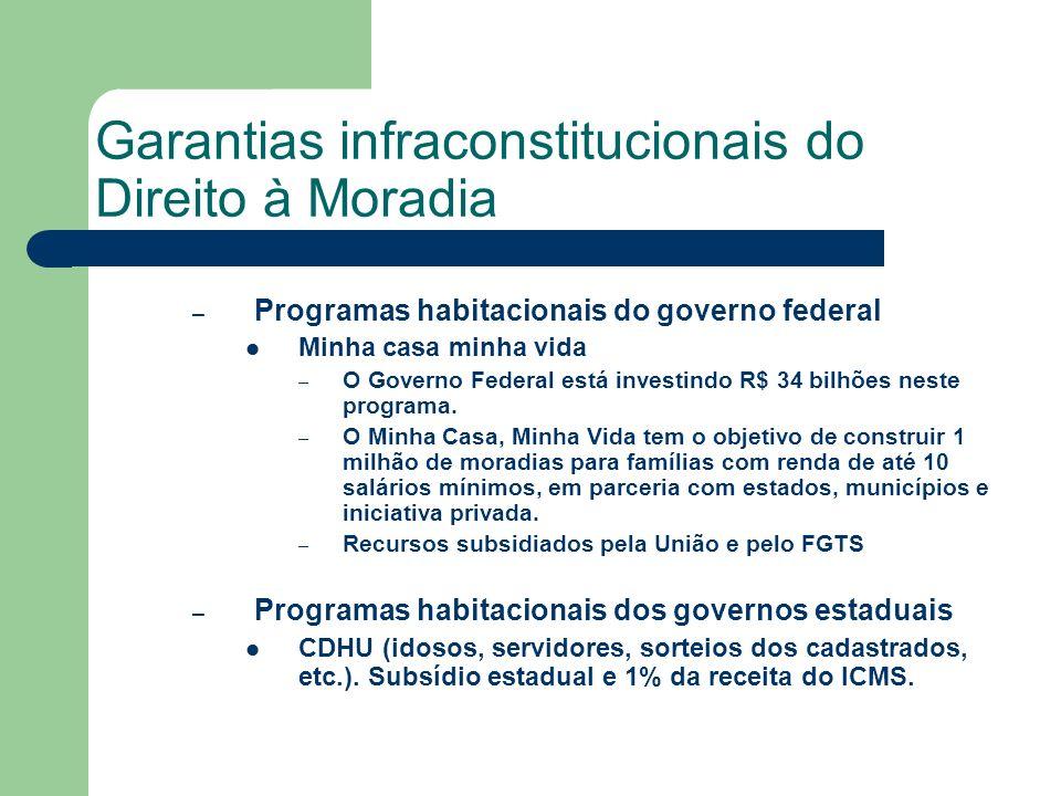 Garantias infraconstitucionais do Direito à Moradia – Programas habitacionais do governo federal Minha casa minha vida – O Governo Federal está invest
