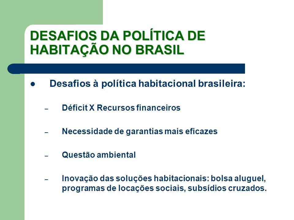 DESAFIOS DA POLÍTICA DE HABITAÇÃO NO BRASIL Desafios à política habitacional brasileira: – Déficit X Recursos financeiros – Necessidade de garantias m