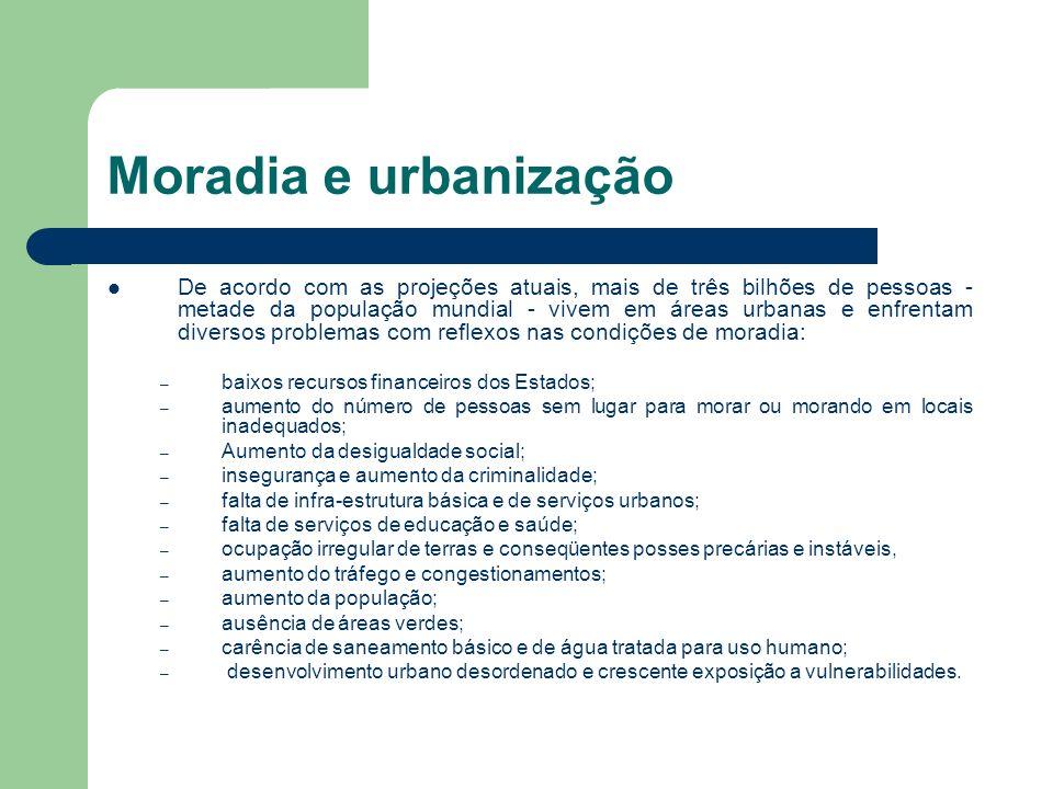 Moradia e urbanização De acordo com as projeções atuais, mais de três bilhões de pessoas - metade da população mundial - vivem em áreas urbanas e enfr
