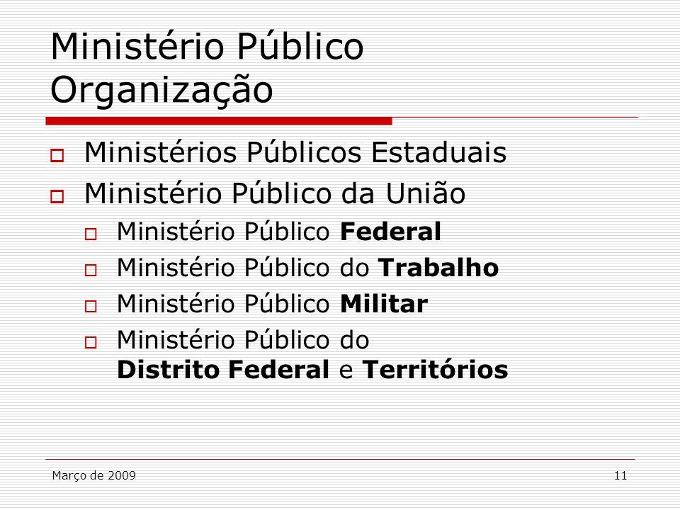 Março de 200911 Ministério Público Organização Ministérios Públicos Estaduais Ministério Público da União Ministério Público Federal Ministério Públic