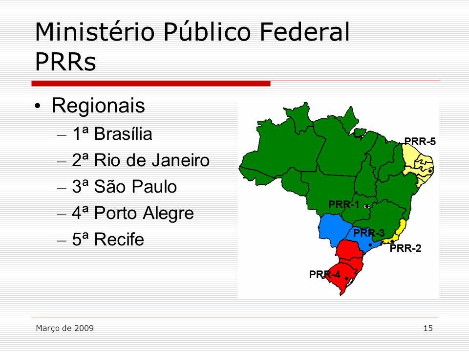 Março de 200915 Ministério Público Federal PRRs Regionais – 1ª Brasília – 2ª Rio de Janeiro – 3ª São Paulo – 4ª Porto Alegre – 5ª Recife