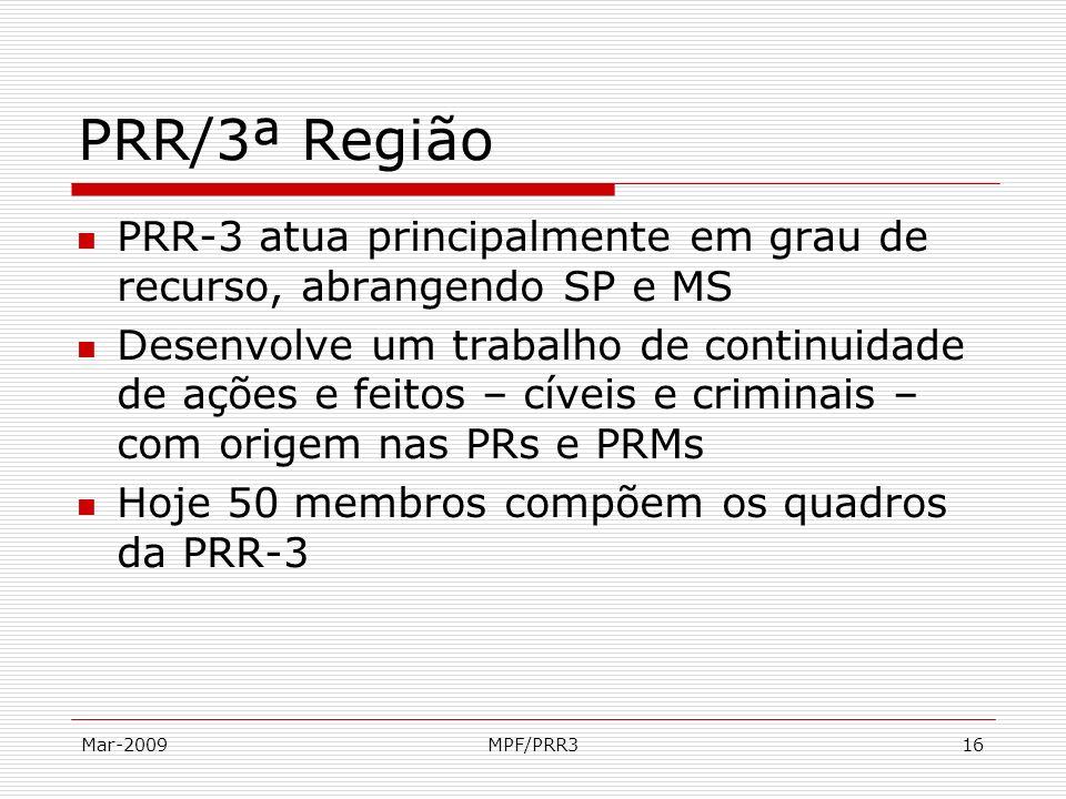 Mar-2009MPF/PRR316 PRR/3ª Região PRR-3 atua principalmente em grau de recurso, abrangendo SP e MS Desenvolve um trabalho de continuidade de ações e fe