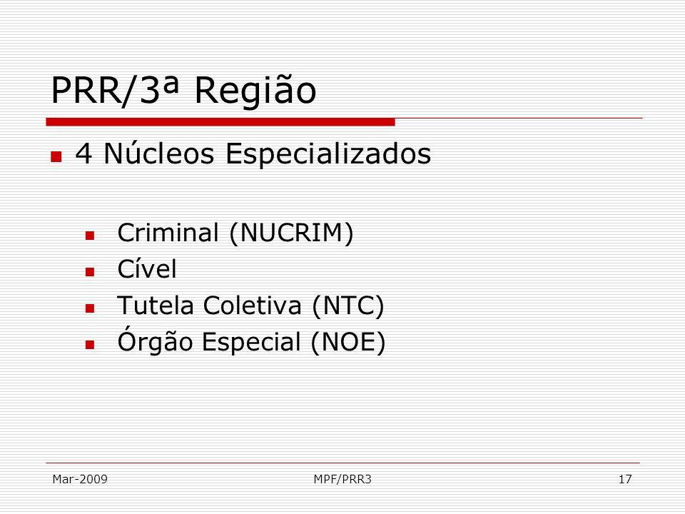 Mar-2009MPF/PRR317 PRR/3ª Região 4 Núcleos Especializados Criminal (NUCRIM) Cível Tutela Coletiva (NTC) Órgão Especial (NOE)