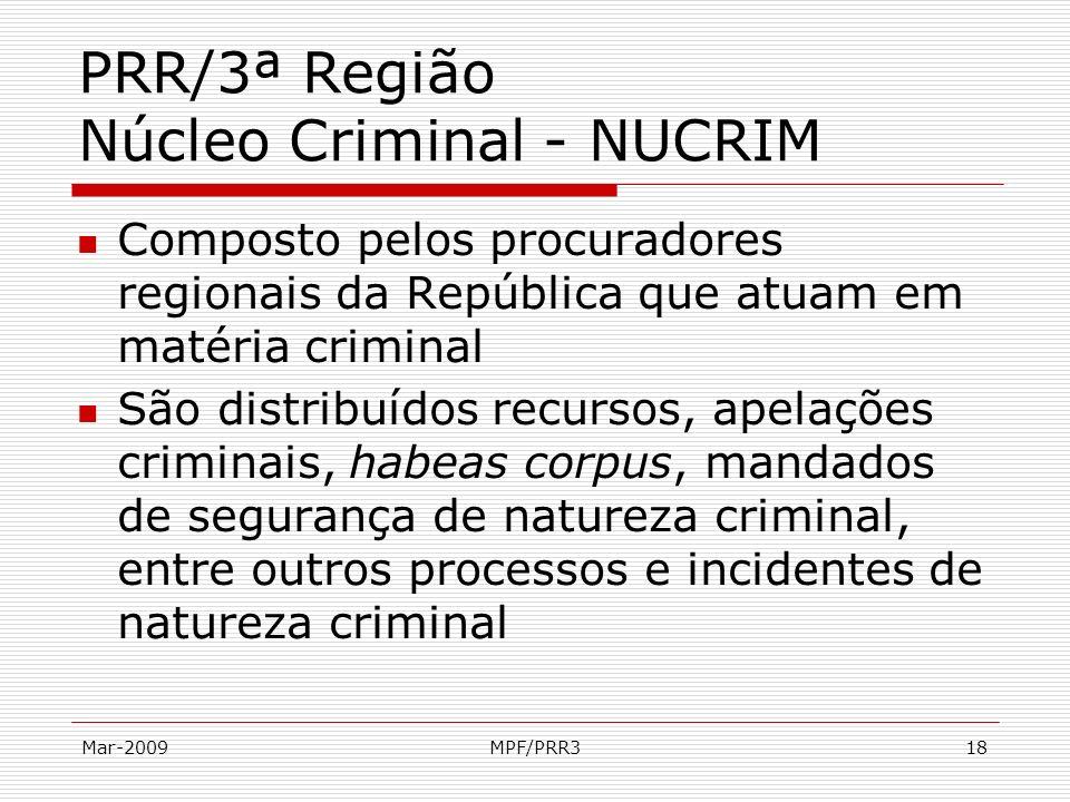 Mar-2009MPF/PRR318 PRR/3ª Região Núcleo Criminal - NUCRIM Composto pelos procuradores regionais da República que atuam em matéria criminal São distrib