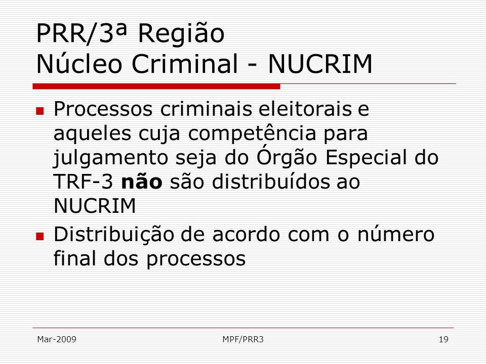 Mar-2009MPF/PRR319 PRR/3ª Região Núcleo Criminal - NUCRIM Processos criminais eleitorais e aqueles cuja competência para julgamento seja do Órgão Espe