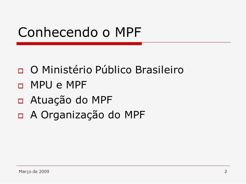 2 Conhecendo o MPF O Ministério Público Brasileiro MPU e MPF Atuação do MPF A Organização do MPF