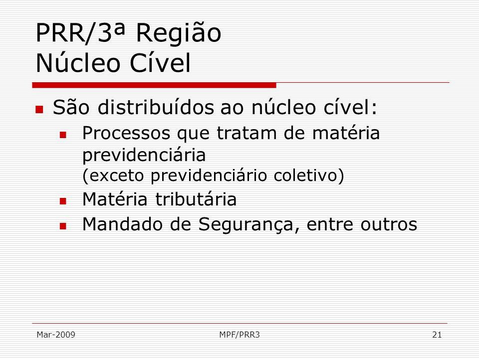 Mar-2009MPF/PRR321 PRR/3ª Região Núcleo Cível São distribuídos ao núcleo cível: Processos que tratam de matéria previdenciária (exceto previdenciário