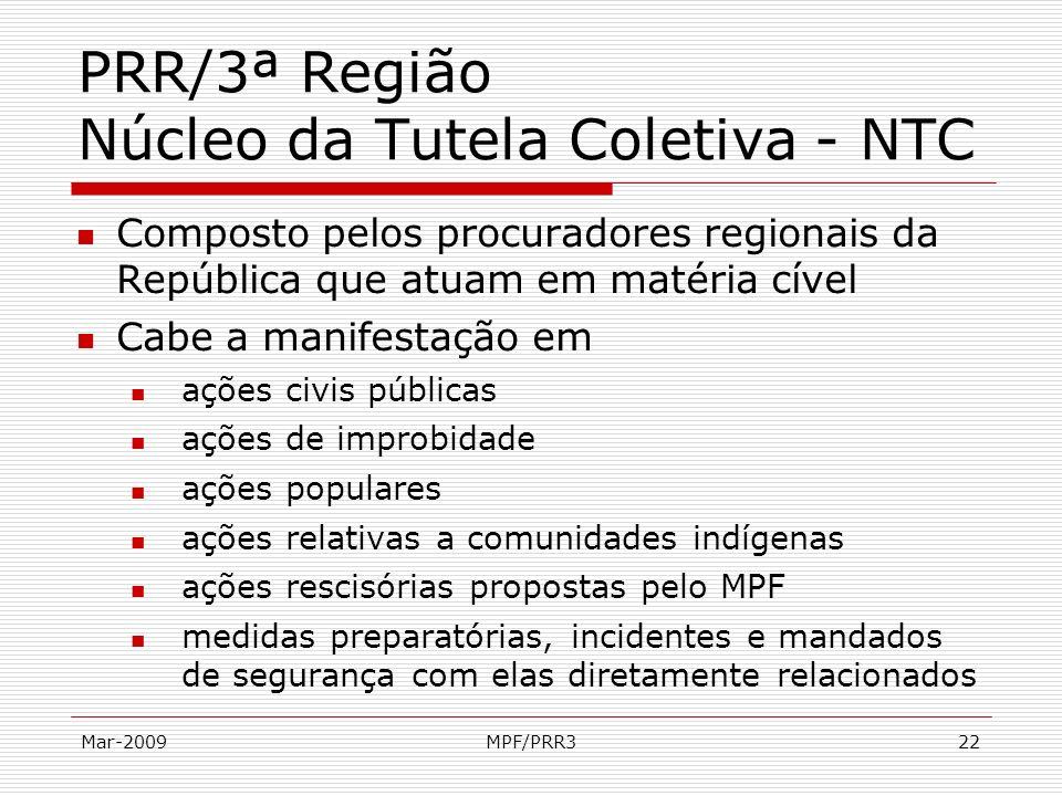 Mar-2009MPF/PRR322 PRR/3ª Região Núcleo da Tutela Coletiva - NTC Composto pelos procuradores regionais da República que atuam em matéria cível Cabe a