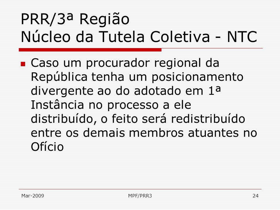 Mar-2009MPF/PRR324 PRR/3ª Região Núcleo da Tutela Coletiva - NTC Caso um procurador regional da República tenha um posicionamento divergente ao do ado