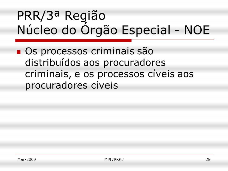 Mar-2009MPF/PRR328 PRR/3ª Região Núcleo do Órgão Especial - NOE Os processos criminais são distribuídos aos procuradores criminais, e os processos cív