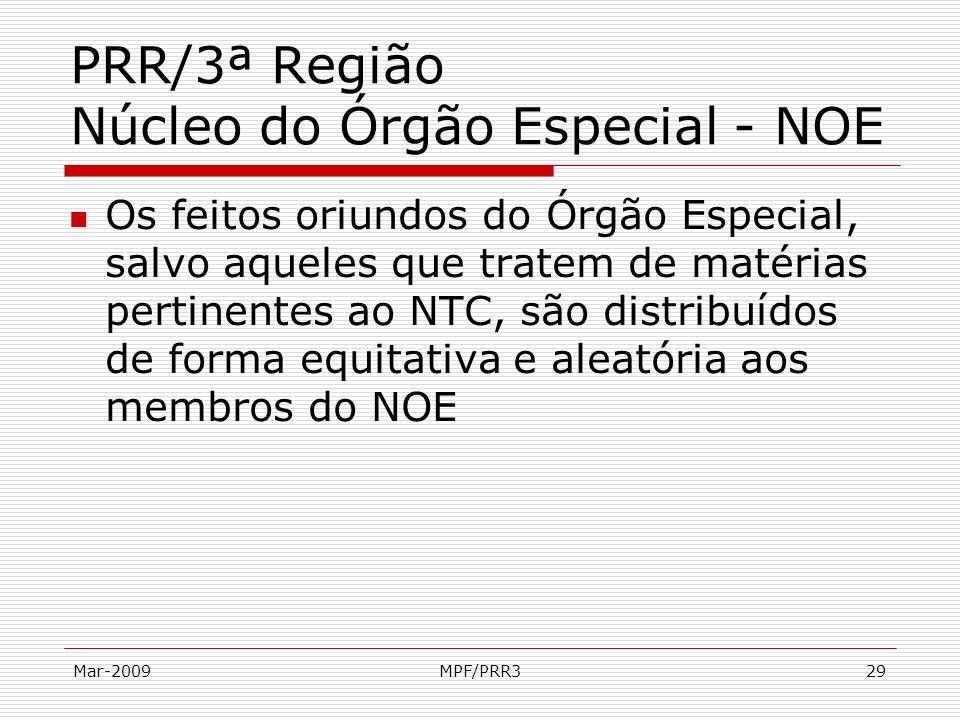 Mar-2009MPF/PRR329 PRR/3ª Região Núcleo do Órgão Especial - NOE Os feitos oriundos do Órgão Especial, salvo aqueles que tratem de matérias pertinentes