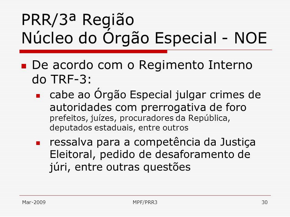 Mar-2009MPF/PRR330 PRR/3ª Região Núcleo do Órgão Especial - NOE De acordo com o Regimento Interno do TRF-3: cabe ao Órgão Especial julgar crimes de au