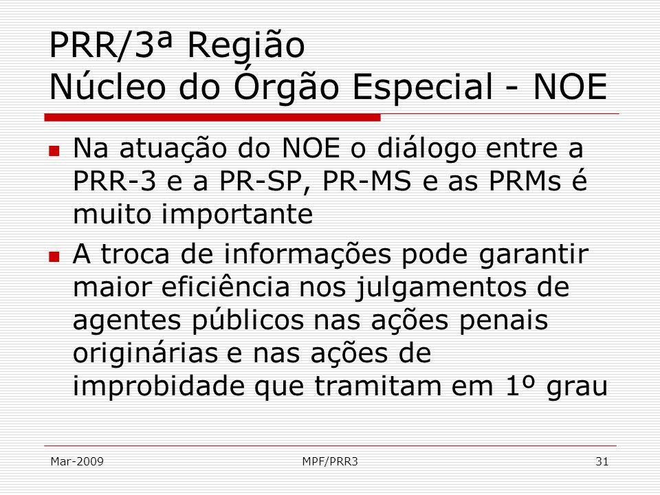 Mar-2009MPF/PRR331 PRR/3ª Região Núcleo do Órgão Especial - NOE Na atuação do NOE o diálogo entre a PRR-3 e a PR-SP, PR-MS e as PRMs é muito important