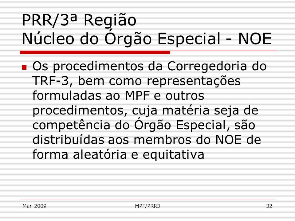 Mar-2009MPF/PRR332 PRR/3ª Região Núcleo do Órgão Especial - NOE Os procedimentos da Corregedoria do TRF-3, bem como representações formuladas ao MPF e