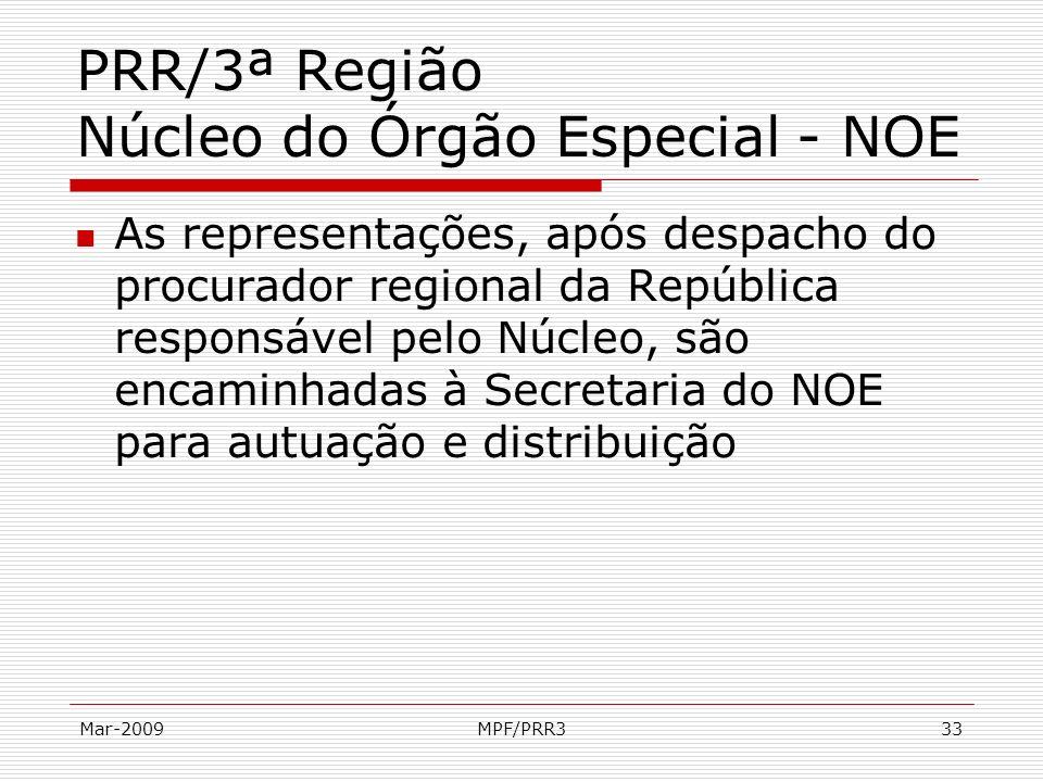 Mar-2009MPF/PRR333 PRR/3ª Região Núcleo do Órgão Especial - NOE As representações, após despacho do procurador regional da República responsável pelo