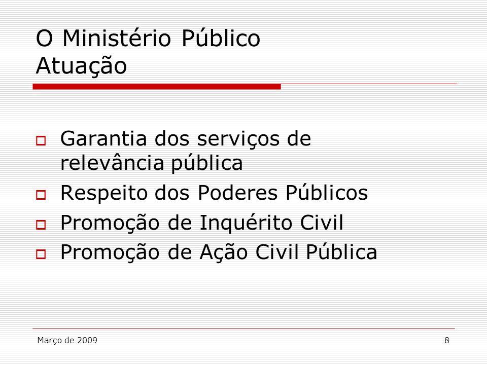 Março de 20098 O Ministério Público Atuação Garantia dos serviços de relevância pública Respeito dos Poderes Públicos Promoção de Inquérito Civil Prom
