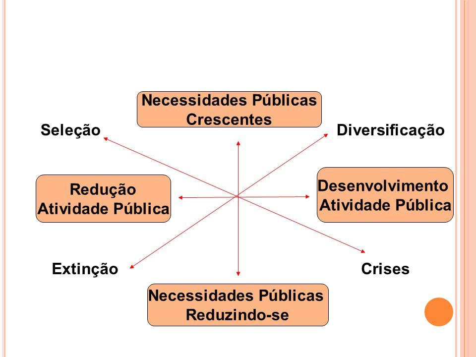 Necessidades Públicas Crescentes Necessidades Públicas Reduzindo-se Desenvolvimento Atividade Pública Redução Atividade Pública ExtinçãoCrises Seleção
