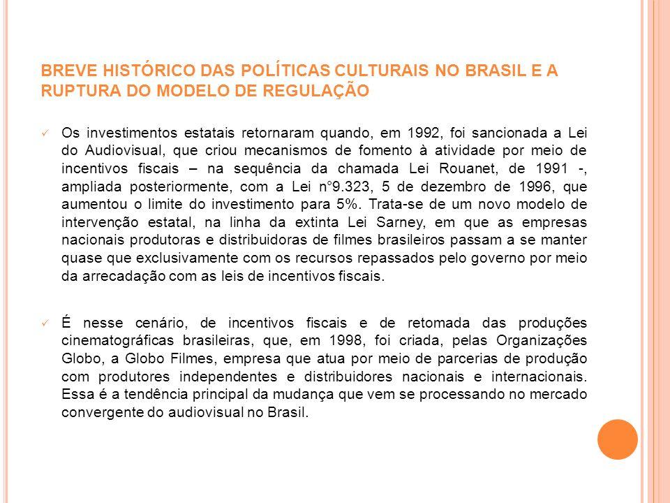 BREVE HISTÓRICO DAS POLÍTICAS CULTURAIS NO BRASIL E A RUPTURA DO MODELO DE REGULAÇÃO Os investimentos estatais retornaram quando, em 1992, foi sancion