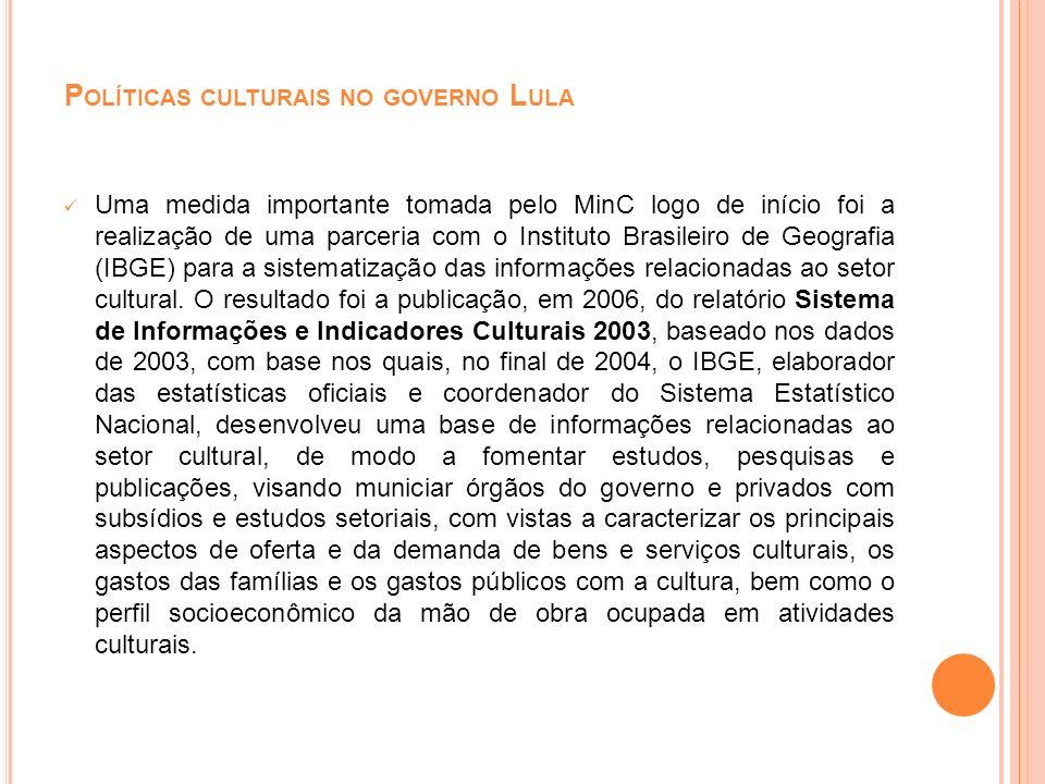 Uma medida importante tomada pelo MinC logo de início foi a realização de uma parceria com o Instituto Brasileiro de Geografia (IBGE) para a sistemati