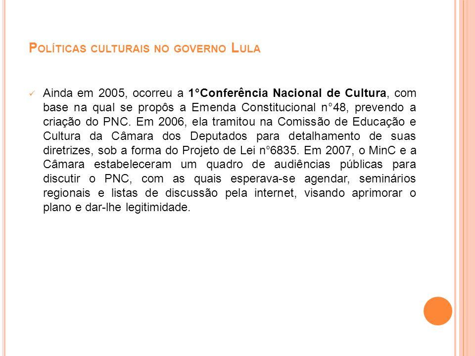 P OLÍTICAS CULTURAIS NO GOVERNO L ULA Ainda em 2005, ocorreu a 1°Conferência Nacional de Cultura, com base na qual se propôs a Emenda Constitucional n